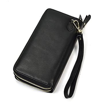 aaccc9a418696 Herren Echtleder Clutch Bag Doppel-Reißverschluss Geldbörse Zip-Around  Wallet (Schwarz)