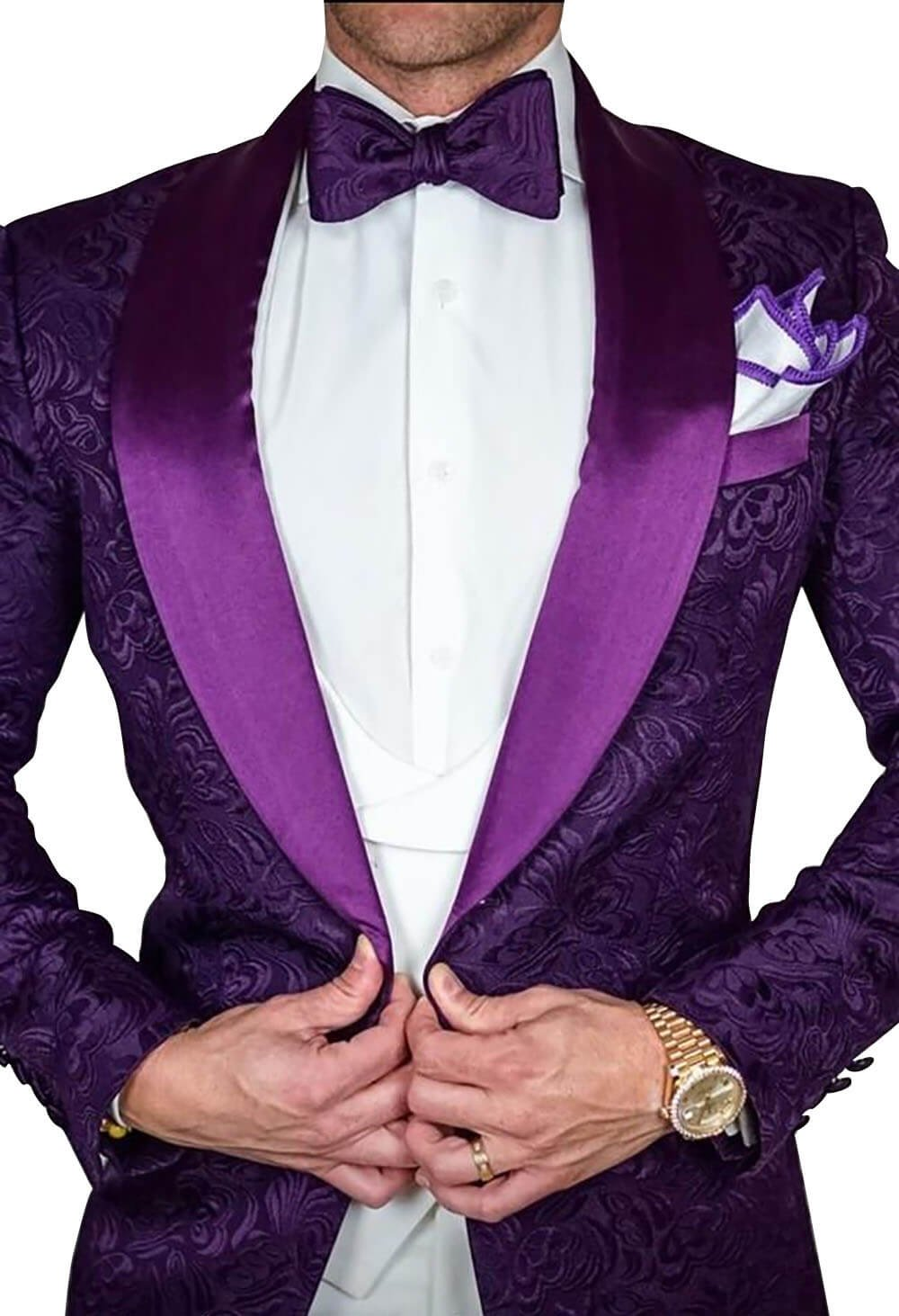 Yunjia Premium Paisley Floral Pattern Premium Slim Fit Tuxedo Prom Wedding Groom Suits Blazers Jacket Coat,Purple