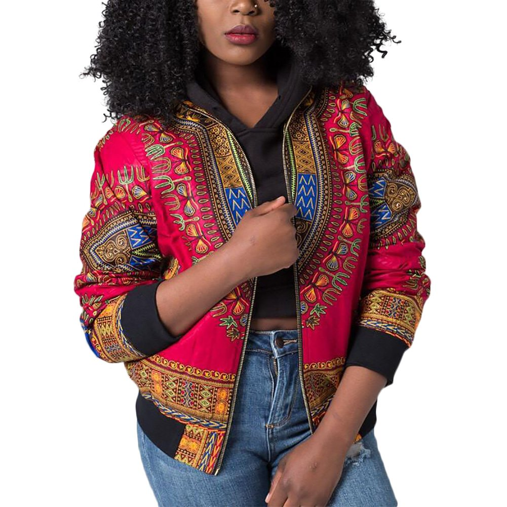 Luluka Women's Long Sleeve Print Dashiki Ethnic Style Africa Baseball Jacket