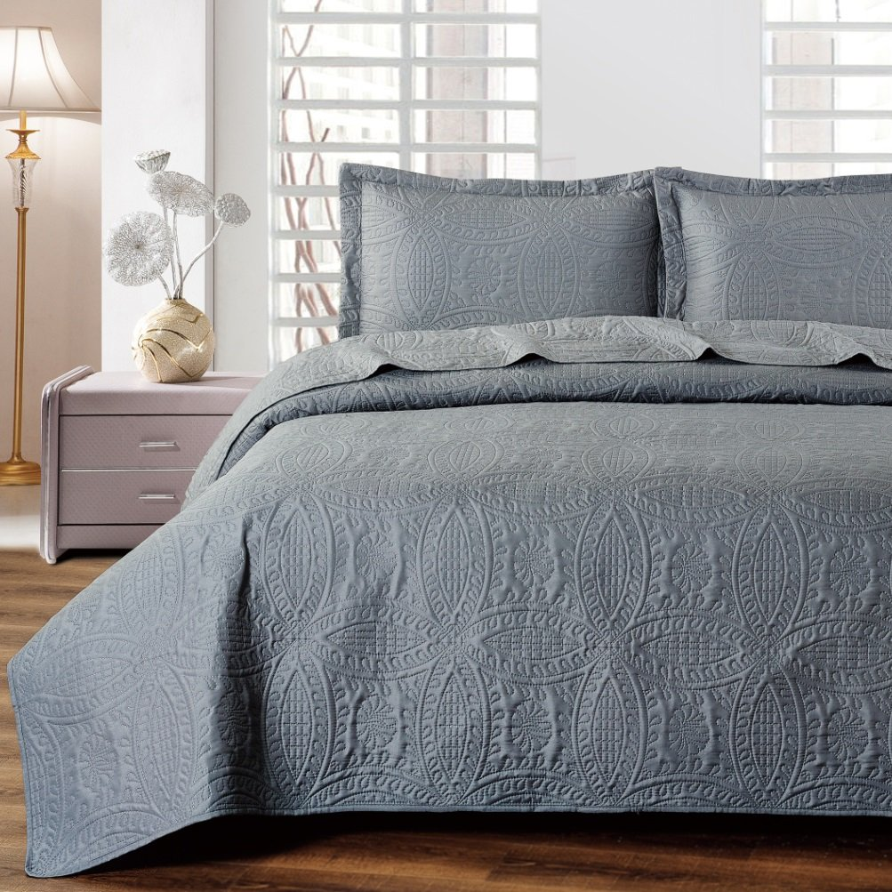 Mellanni Bedspread Coverlet Set Charcoal - BEST QUALITY Comforter Oversized 3-Piece Quilt Set (Full/Queen, Gray)