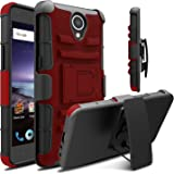 ZTE Prestige 2 Case, Venoro Heavy Duty Armor Holster Defender Full Body Protective Hybrid Case Cover with Kickstand and Belt Swivel Clip for ZTE N9136 (Red/Black)
