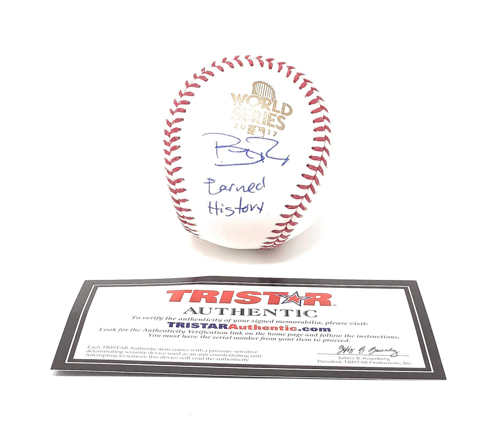 Brad Peacock Houston Astros Signed Autograph Official MLB World Series Baseball Earned History Inscribed Limited Edition Tristar Authentic Certified