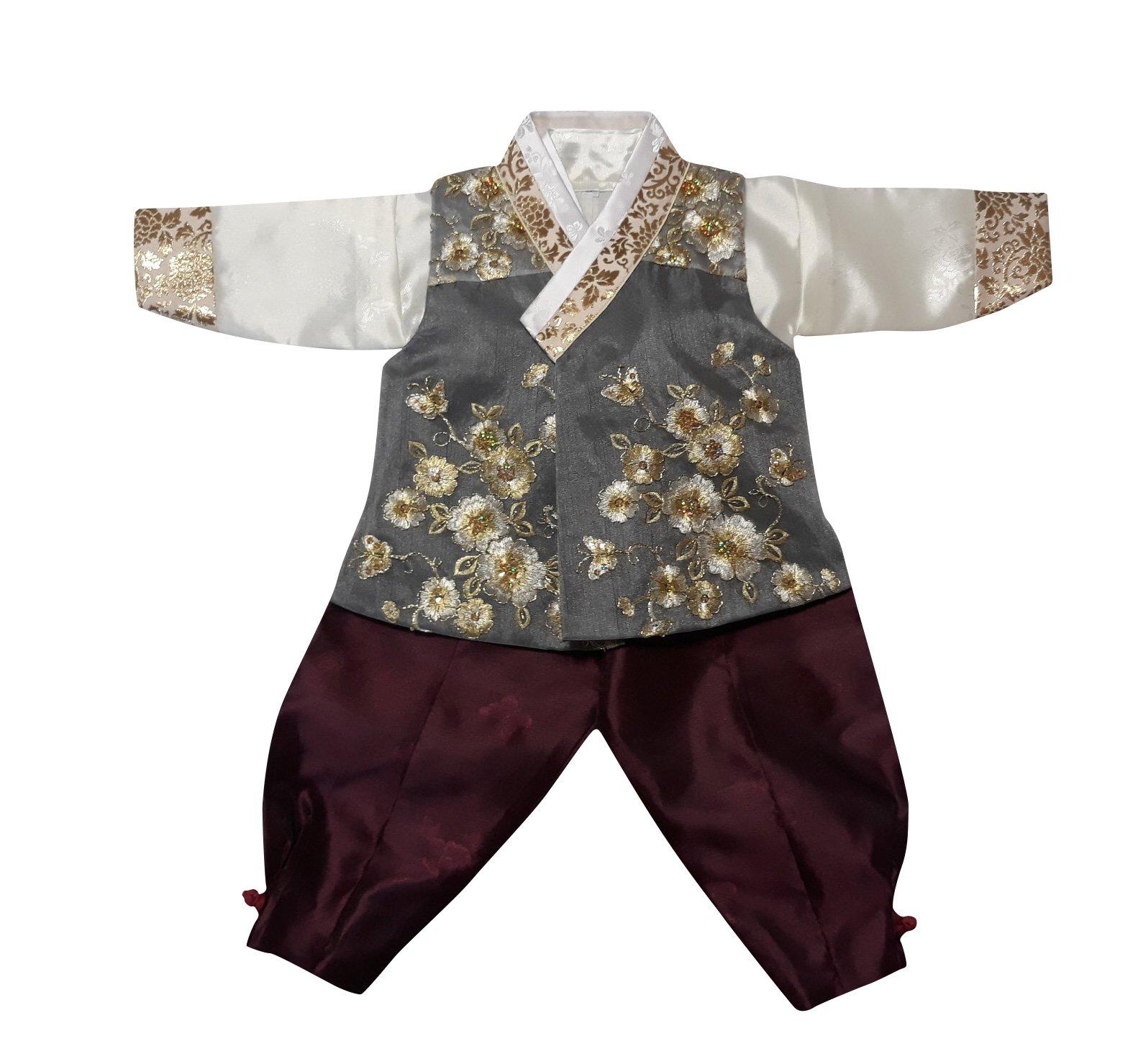 Hanbok Korea Traditional Costumes Boys Babies Kids Party Birthday Ceremony DOLBOK ba109boy (1 age)