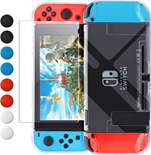 Dockable Case Compatible with Nintendo Switch, FYOUNG Protective Accessories Cover Case for Nintendo Switch and Joy-Con with Thumbstick Caps- Clear