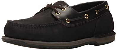 Rockport Men's Perth Boat Shoe, Black/Bark, 6.5 3E US