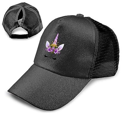 Amazon Com Unicorn Ponytail Hats For Women Messy Trucker Hat Plain