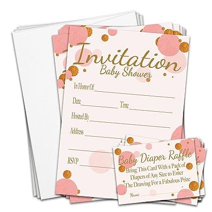 Amazon braindango 25 pack baby shower invitations pink girl braindango 25 pack baby shower invitations pink girl gold glitter diaper raffle game envelopes filmwisefo