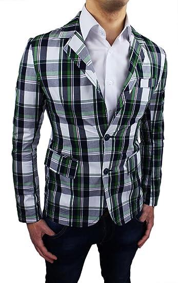Chaqueta Blazer para Hombre algodón diseño de Cuadros Slim Fit Ajustada Casual Verano: Amazon.es: Ropa y accesorios