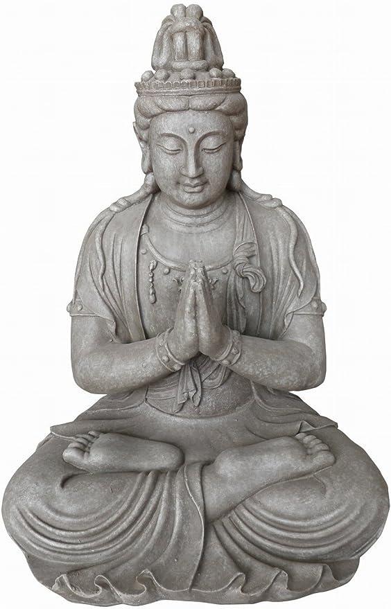 Stone-Lite Figura de Buda Guanyin orando en la posición del Loto - para casa y jardín - Altura 66 cm - Gris: Amazon.es: Hogar