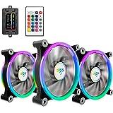 AIGO 3 Packs di Raffreddamento,RGB LED 120 mm Silenziosa Alto Correnti d' aria Regolabile Colore Led Ventola di Raffreddamento,CPU Raffreddamento Radiator Supporta Intel AMD DIY Mod AM4 rrzen,con Tel