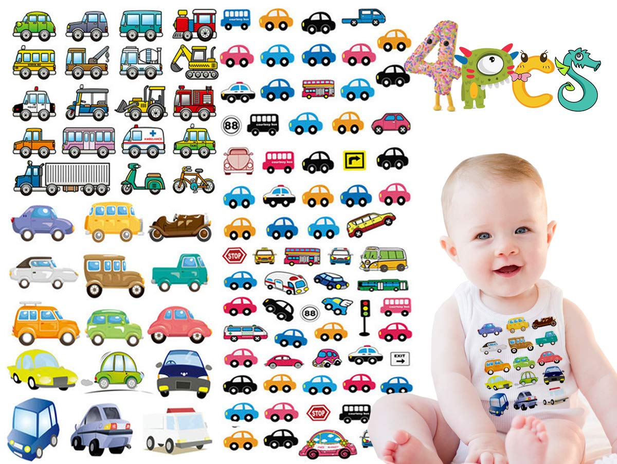 Kids Iron On Patches Trucks-Police Car Iron On Patches - Car Heat Transfer  Stickers-Baby Cartoon Trucks, Excavators Set Design Appliques Washable