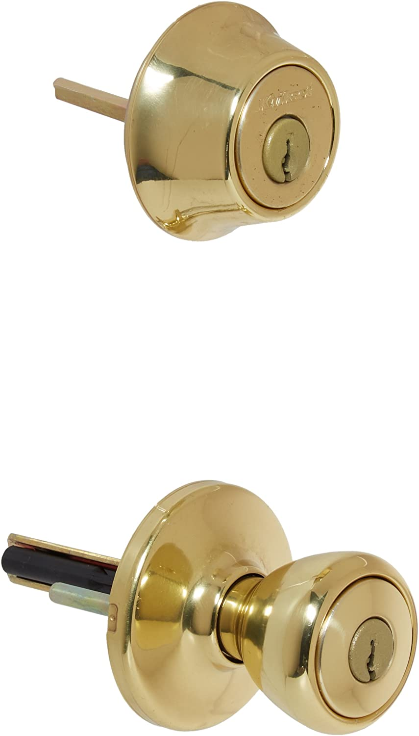Kwikset 242 Tylo Entry Knob and Single Cylinder Deadbolt Project Pack in Polished Brass