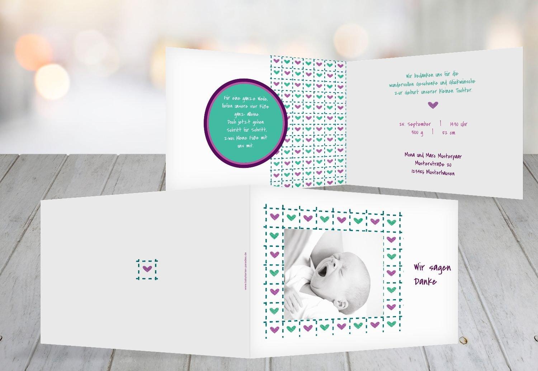 Kartenparadies Danksagung Danksagung Danksagung für Geburt Baby Dankeskarte Herzrahmen, hochwertige Danksagungskarte Baby inklusive Umschläge   100 Karten - (Format  148x105 mm) Farbe  Lila B01N7XVXYK | Am praktischsten  | Genial Und Praktisch  | Vielfalt  495b95