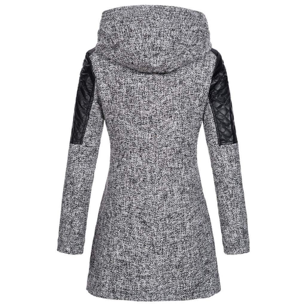 99native@ Manteau Femme Hiver Doudoune Femme Longue Duffle Coat Fourrure Jacket Leather, Veste 2018 Mode Manches Longues ÉPaissir Doublé Peluche Parka RembourréE Gris 1