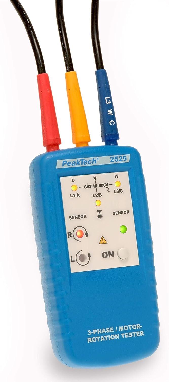 PeakTech P 2525 3-Phasen Drehrichtungsanzeiger//Drehfeld Messger/ät f/ür Kraftstrom mit LED Anzeige