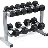 Bodypower Rubber Hex Dumbbells & Rack 3,4,6,8 & 10Kg