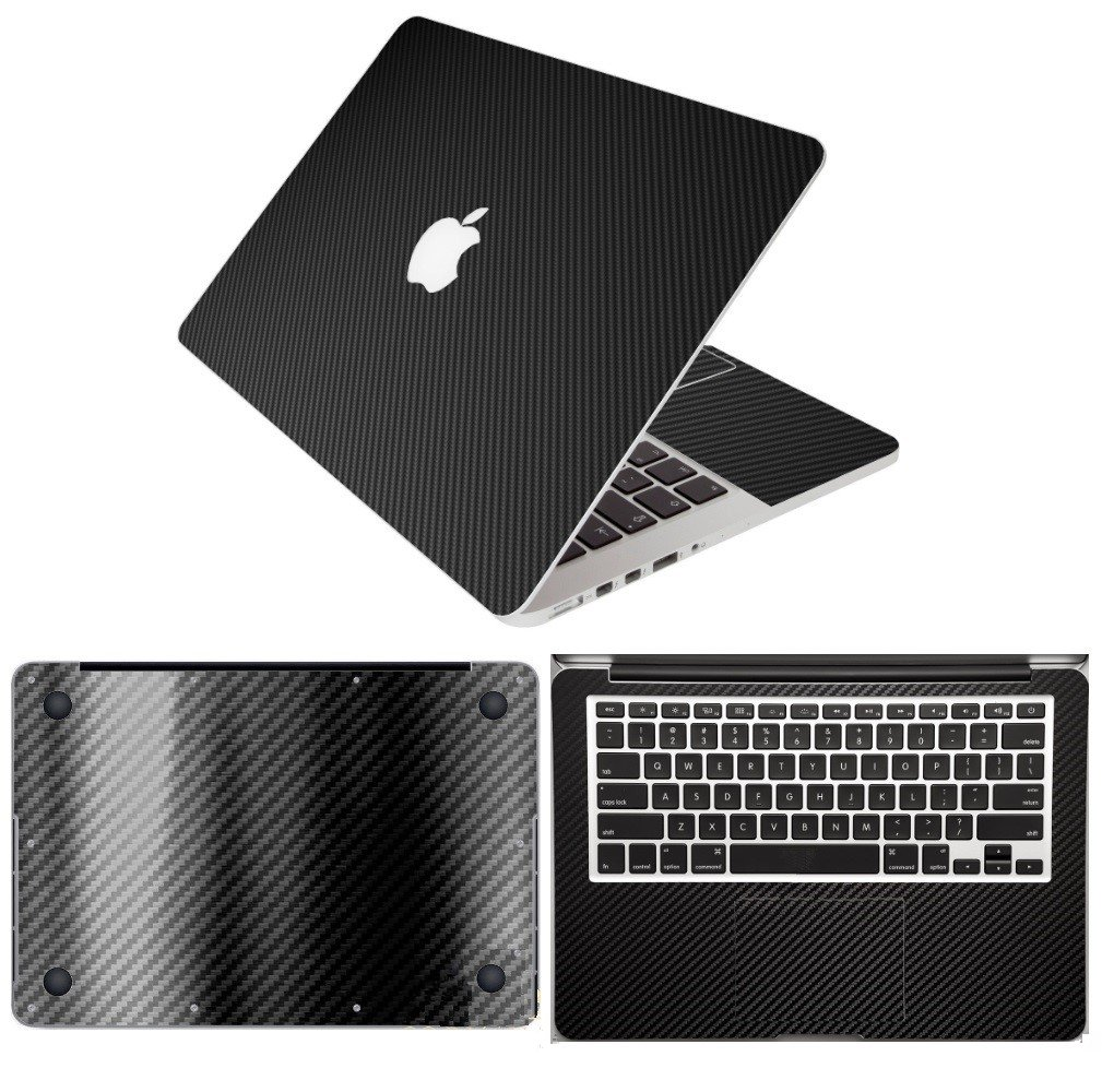 ZUEXT Black Carbon Fiber Full Body PVC Vinyl Decals Sticker for MacBook Pro 13.3 inch (A1278), 4 in 1 Ultra-Thin Removable Protective Skin Cover for Palmrest, Trackpad, Upper & Bottom