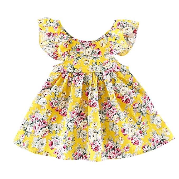 ... Nacido Verano 2018 Vestido de niña sin espalda con estampado floral Tutu Princesa Vestido Niña Ceremonia Fiesta Ropa Niña: Amazon.es: Ropa y accesorios