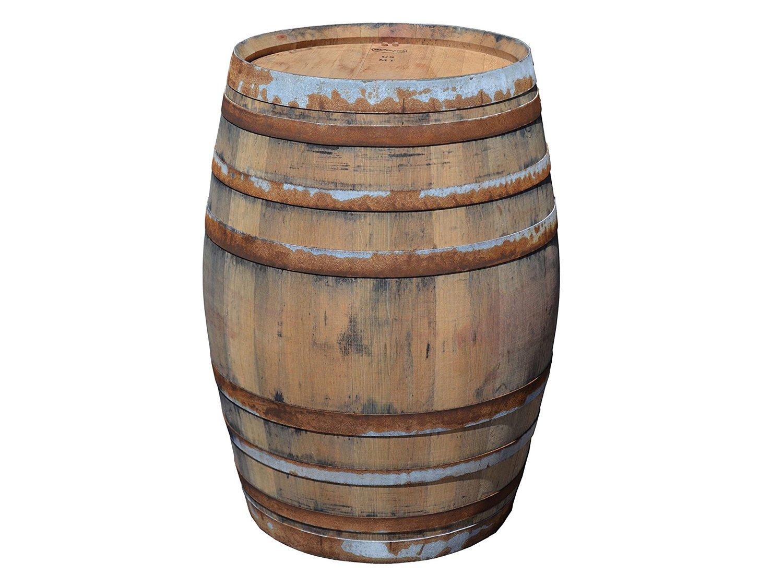 Temesso Botte da vino rustica in rovere, barile, da usare come tavolo, decorazione - Altezza 95cm, Contenuto 225 litro (Con fissaggio degli anelli)