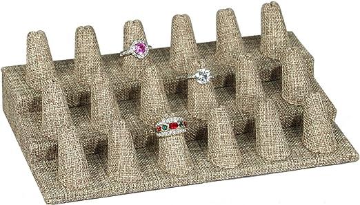 "Three Finger Black Velvet Ring Display 2/"" Presentation Showcase Jewelry 2"