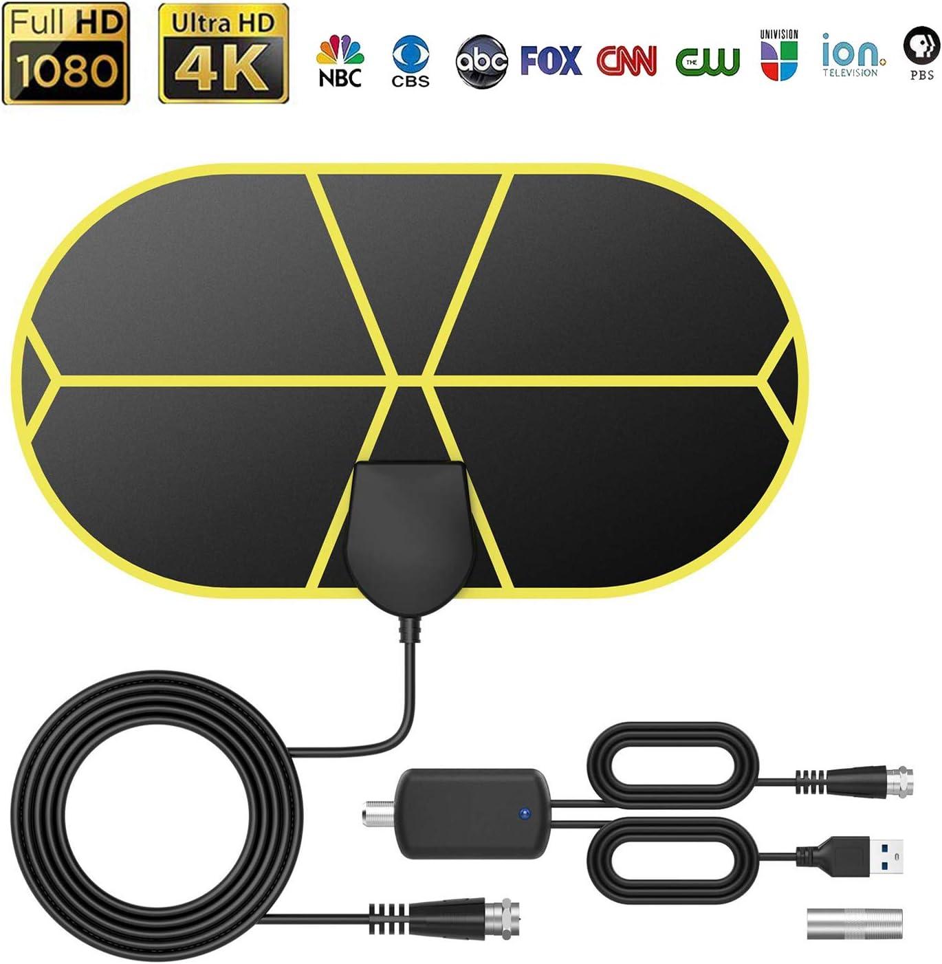 GeekerChip Antena TV Interior,Antena TV TNT Portátil con 3.7 M Cable,Soporte 4K 1080p para 4K 1080 HD/VHF/UHF,Apto para Sección los Tipos de Televisores: Amazon.es: Electrónica