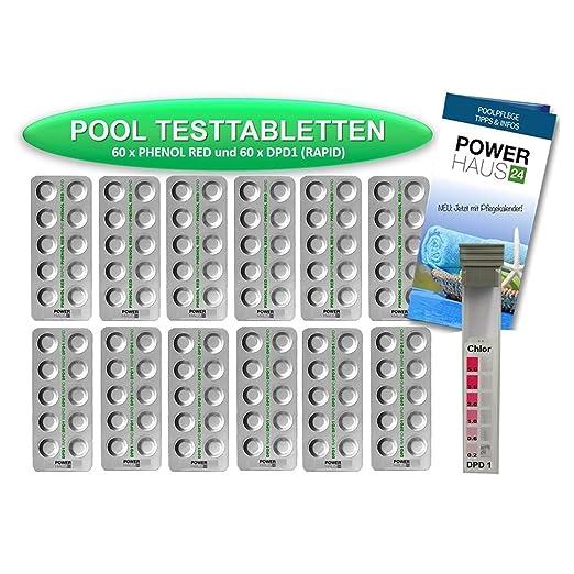 8 opinioni per Powerhaus24,120 pastiglie per l'analisi dell'acqua, 60 per pH rosso fenolo e 60