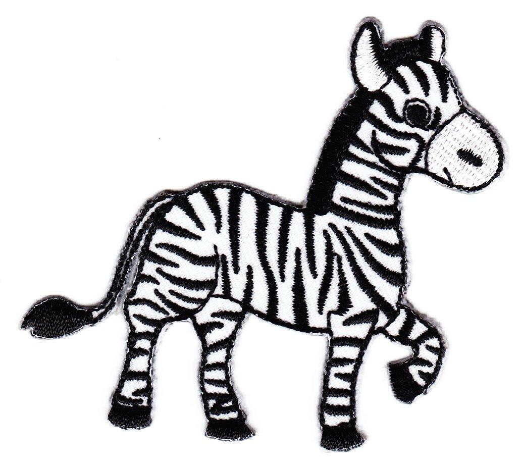 Aufnäher // Bügelbild 5,7x5,5cm grau Patches Aufbügeln Zebra Tier