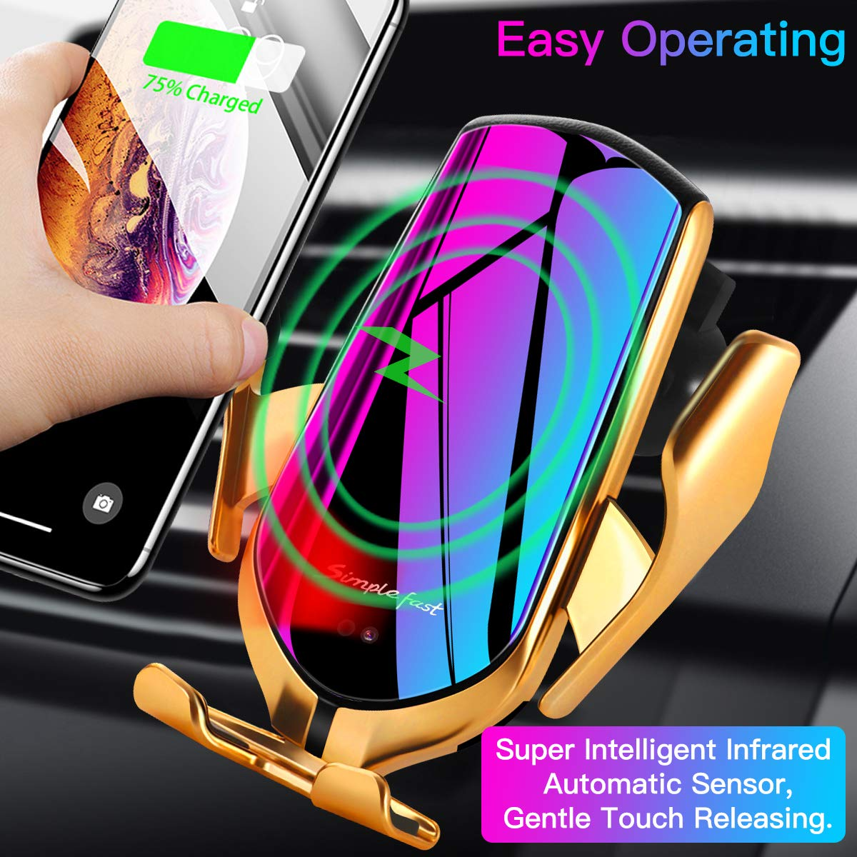 Fast Phone Charger for Car for iPhone Xs Max//XR//X//8 Plus Galaxy S10//S10+//S9 10W Qi Air Vent Wireless Car Mount Charger Automatic Clamping Wireless Charger Gold