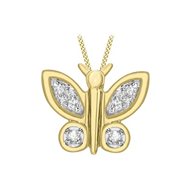 Carissima Gold 9ct Yellow Gold Diamond Cut and Milgrain Butterfly Pendant Necklace of Length 46cm mZDiBhR