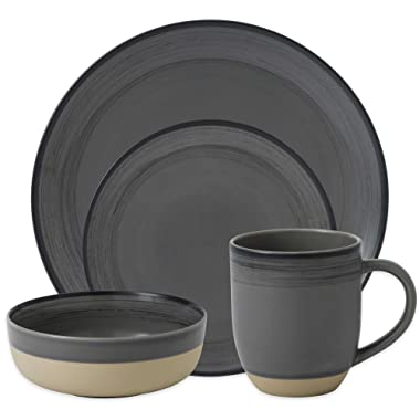 ED Ellen DeGeneres Beautifully Crafted by Royal Doulton Brushed Glaze 16-Piece Stoneware Dinnerware Set in Grey