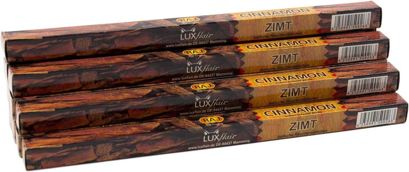 Varitas de incienso Luxflair prémium, canela, juego XL con 10 paquetes de 8 varillas de incienso (80 unidades), larga duración de combustión de aprox. 45 min.
