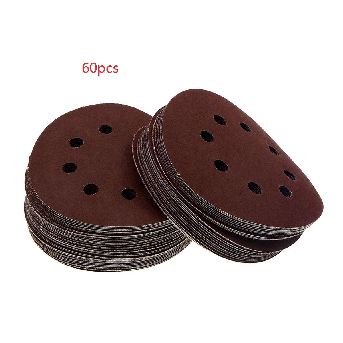 YXQ 60Pcs 5-inch 8-Hole Hook and Loop 800Grit Sanding Discs Sandpaper