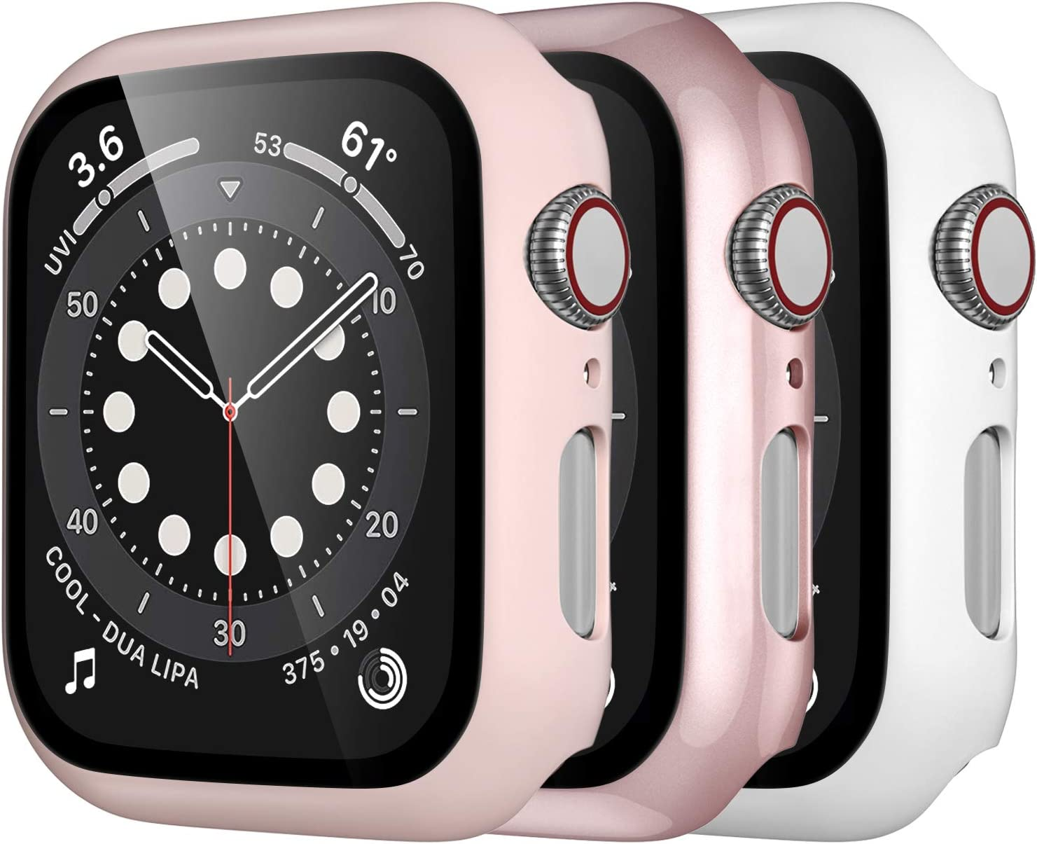 Mastten 3-Pack Case Compatible with Apple Watch Case Series 3 42mm, Bumper Protective Cover Compatible with Apple Watch Screen Protector 42mm with HD Tempered Glass, Rose Gold, Pink, White
