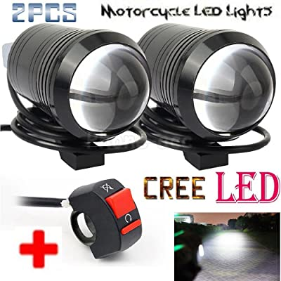 GOODKSSOP 2PCS Motorcycle Fog Light Bar Spotlight Black Metal Shell Waterproof Bright CREE U1 LED Universal Motorcycle Headlight Electric Bike Work Driving Headlamp Spot Lamp + 1pcs ON/OFF Switch: Automotive