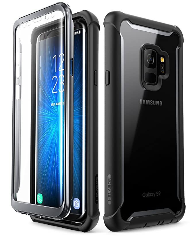 i-Blason Case for Galaxy S9 2018 Release, [Ares] Full-body Rugged Clear Bumper Case with Built-in Screen Protector (Black)
