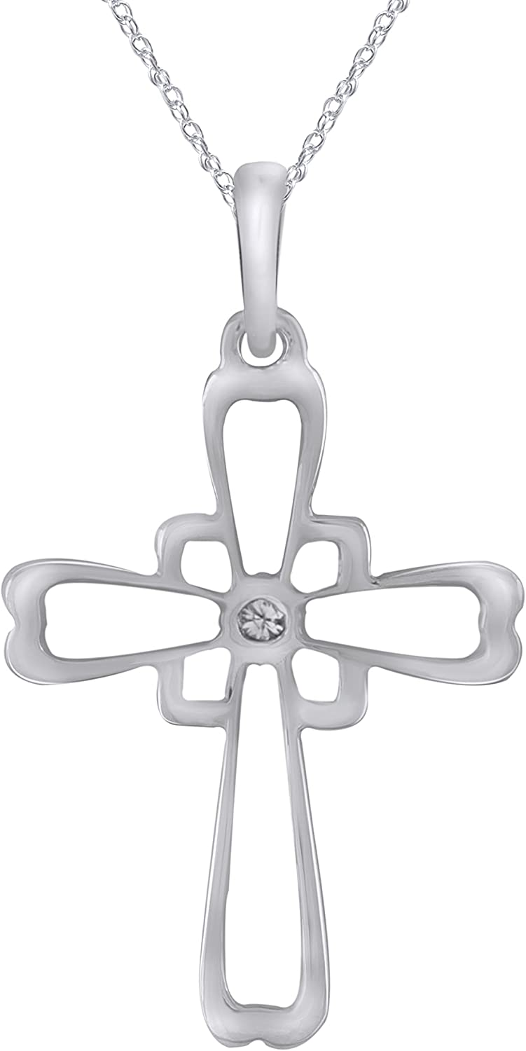 18 Pretty Jewels 0.06 Carat Sterling Silver 925 Diamond Accent Cross Pendant Necklace I1-I2 Clarity