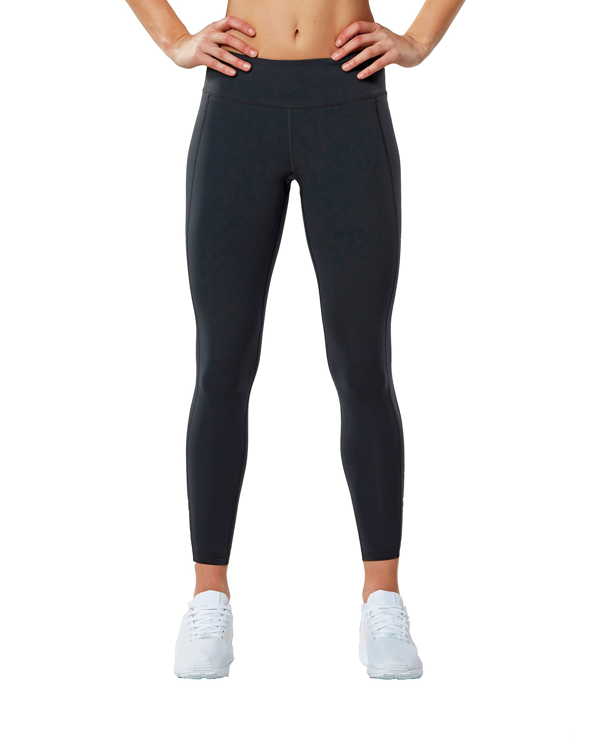 2XU Women's Fitness Compression Tights, Dark Charcoal/Silver, Medium/Tall by 2XU (Image #2)