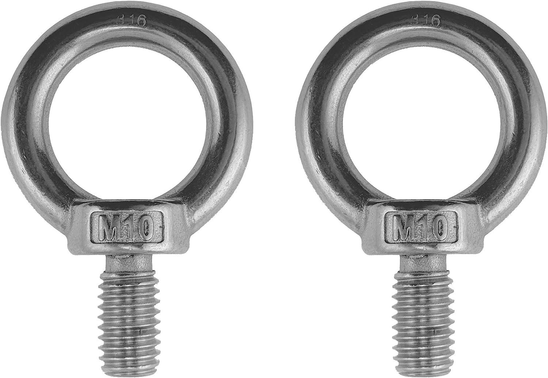2 pernos de ojo de elevaci/ón de acero inoxidable 316 de 10 mm M10 grado marino