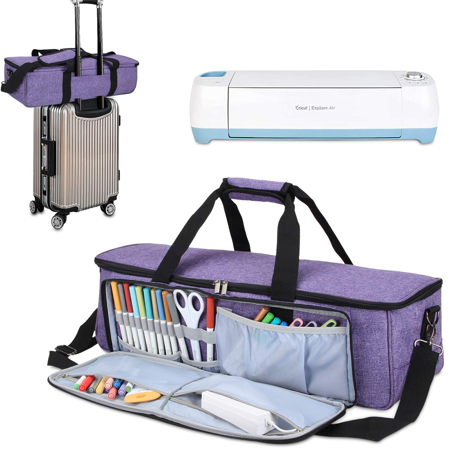 Luxja Double-layer Carrying Bag for Brother ScanNCut Bag Only Cricut Explore Air Travel Bag for Cricut Maker Grey and Cameo 3 Fits for Brother ScanNCut CM300, CM600, CM700, CM900 Air2