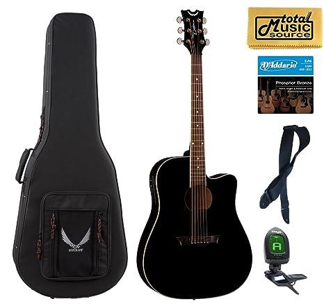 Dean guitarras AX DCE CBK AXS Dreadnought Cutaway Guitarra Electroacústica guitarra, Classic negro LW Case