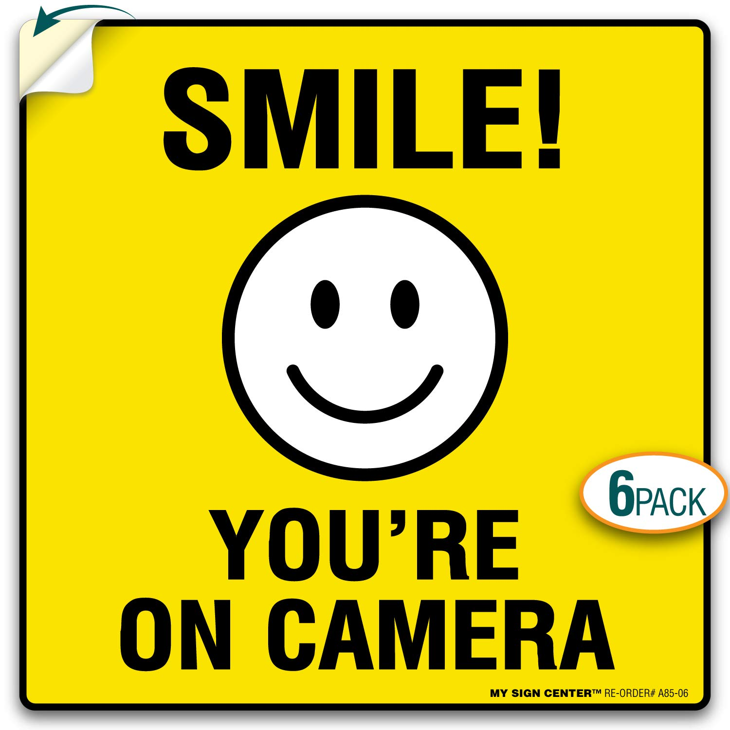 My sign center 4 pack smile youre on camera sticker 24 hour video surveillance sticker premium 4 mil self adhesive vinyl decal indoor and outdoor use