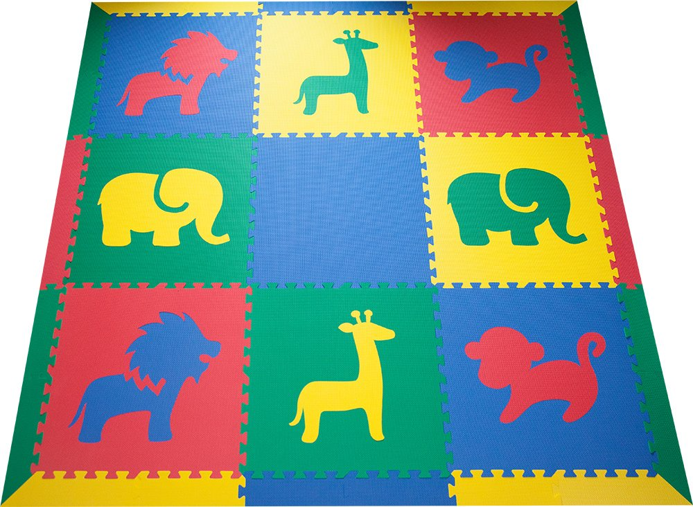 SoftTiles Interlocking Kids Foam Playmat w/Sloped Borders- Safari Animals designs for Nursery and Playroom- Baby, Kids, and Toddlers - Primary Colors (6.5' x 6.5') SCSAFSPRIM