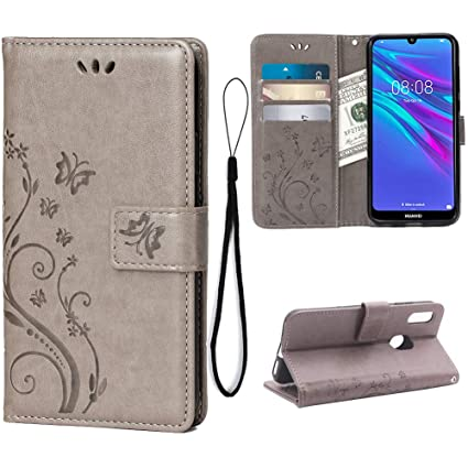 Wallet Case for Huawei Y6 2019/Y6 Pro(2019)/Y6 Prime (2019) Card Holder Embossed Butterfly Flower PU Leather Magnetic Flip Cover for Huawei Y6 2019/Y6 ...