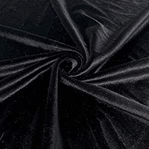 Stretch Velvet Fabric 60'' Wide by The Yard for Sewing Apparel Costumes Craft (1 Yard, Black)