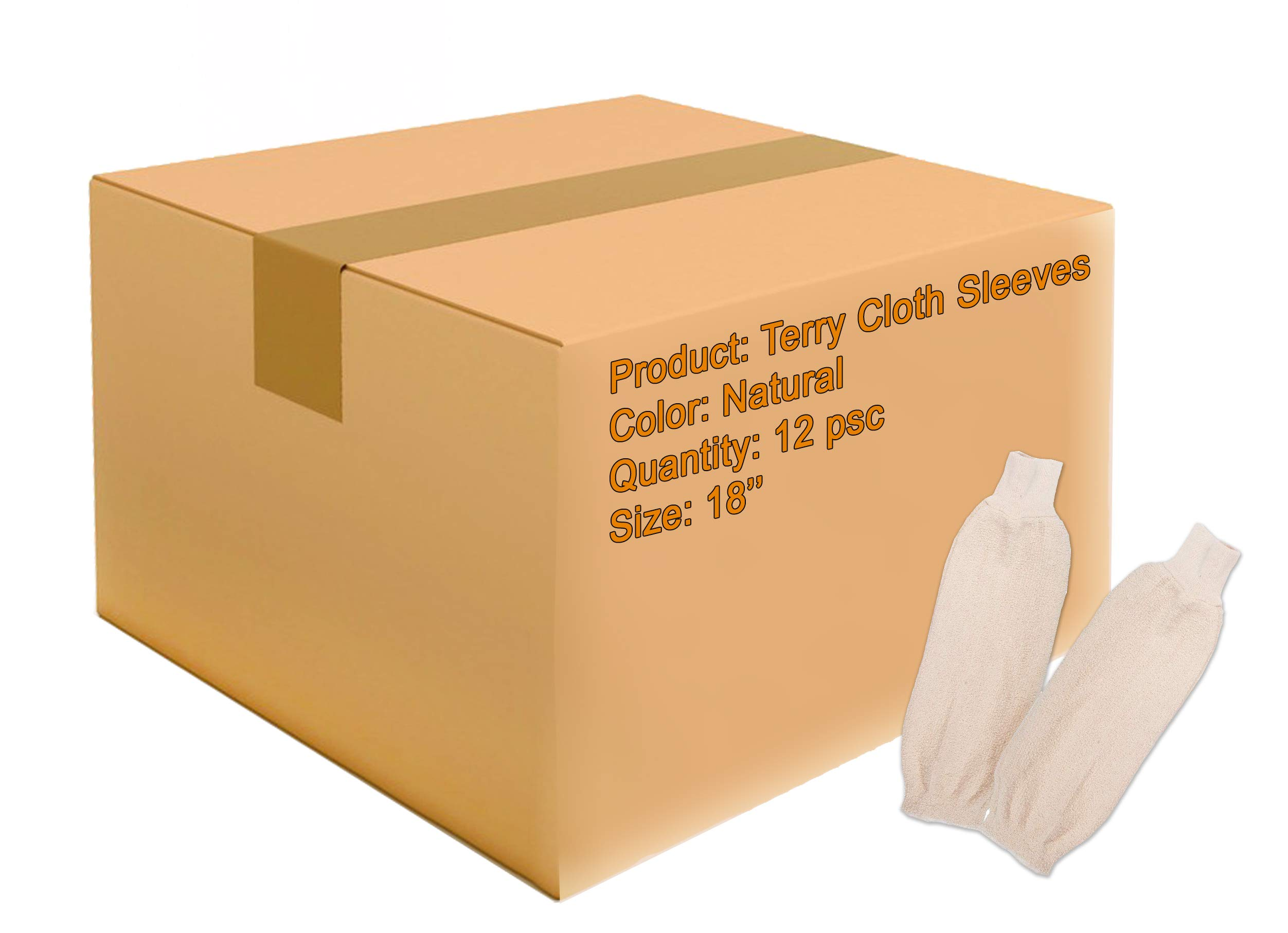 ABC 12 Pairs of Terry Cloth Sleeves 18''. Industrial Oven Sleeves for Heat Protection. Heat Resistant Protective Sleeves for Baking, Cooking Needs. Thermal Arm Protection. Natural Color. by ABC Pack & Supply