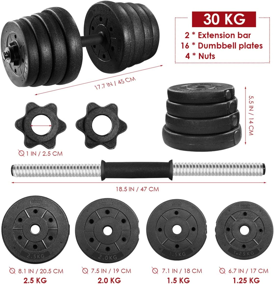 66lb Adjustable Free Weights Dumbbells Barbell Set for Exercise Lifting Workout (30KG)