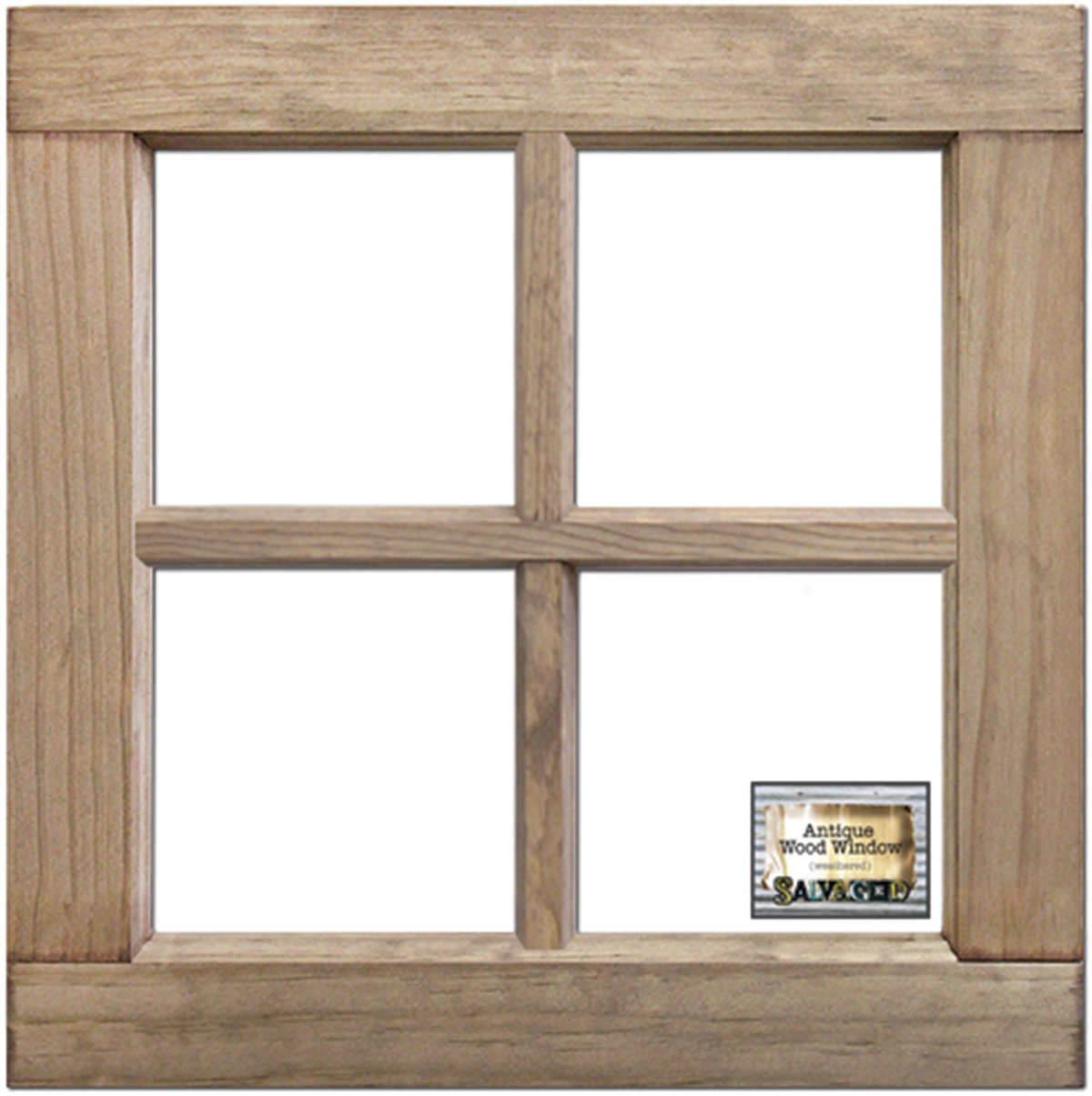 BCI Crafts WIN16X16WW Salvaged 4-Pane Wood Window Frame-Weathered Wood 16''X16''X1.25'',,