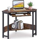 ODK Corner Desk, Triangle Computer Desk, Small Desk Sturdy Steel Frame for Workstation with Smooth Keyboard Tray & Storage Sh