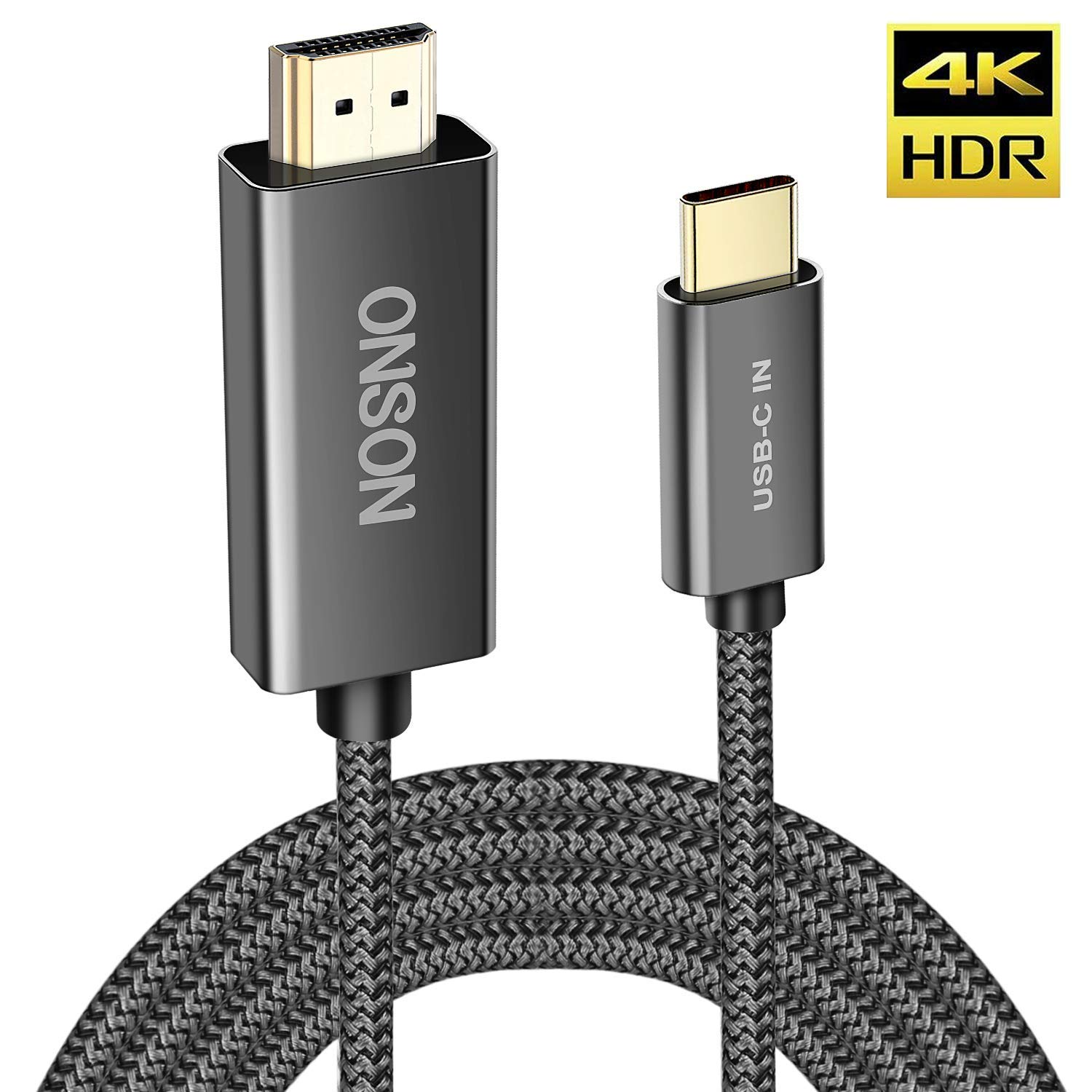USB C to HDMI Cable, FT USB Type C to HDMI Thunderbolt 3 Compatible 4K Converter Supports up to 60Hz for MacBook Pro 2018/2017,Samsung Galaxy S9/S8, Surface Book 2, Dell XPS 13/15, Pixelbook by CBoner