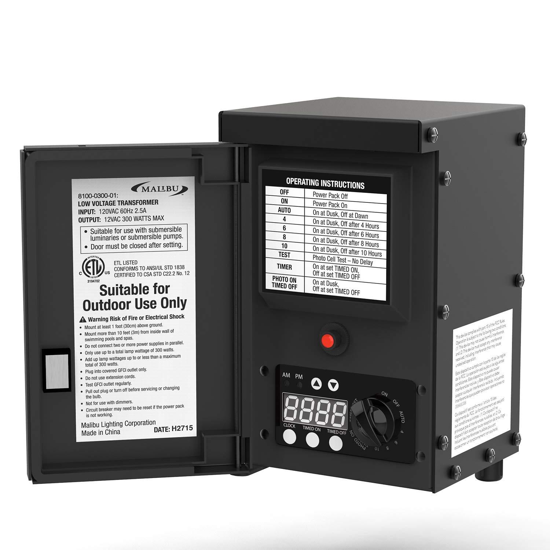 LED Malibu 300 watt Outdoor Transformer with Digital Timer and Ground Shield